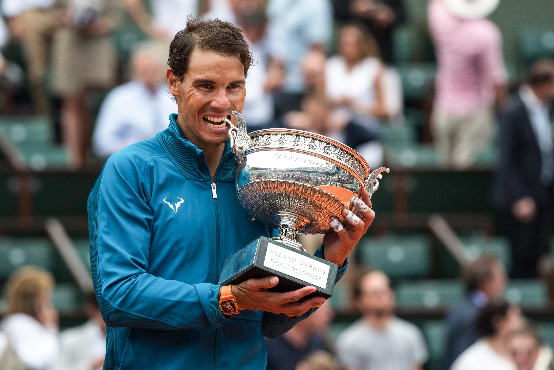 Rafael Nadal lors de la remise du trophée en 2018
