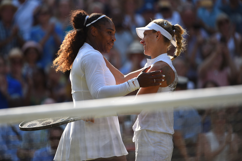 Serena Williams congratulating Angelique Kerber after the Wimbledon 2018 final