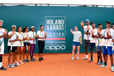 Justin Henin iand players n Delhi for the Roland-Garros Junior Wild Card Series