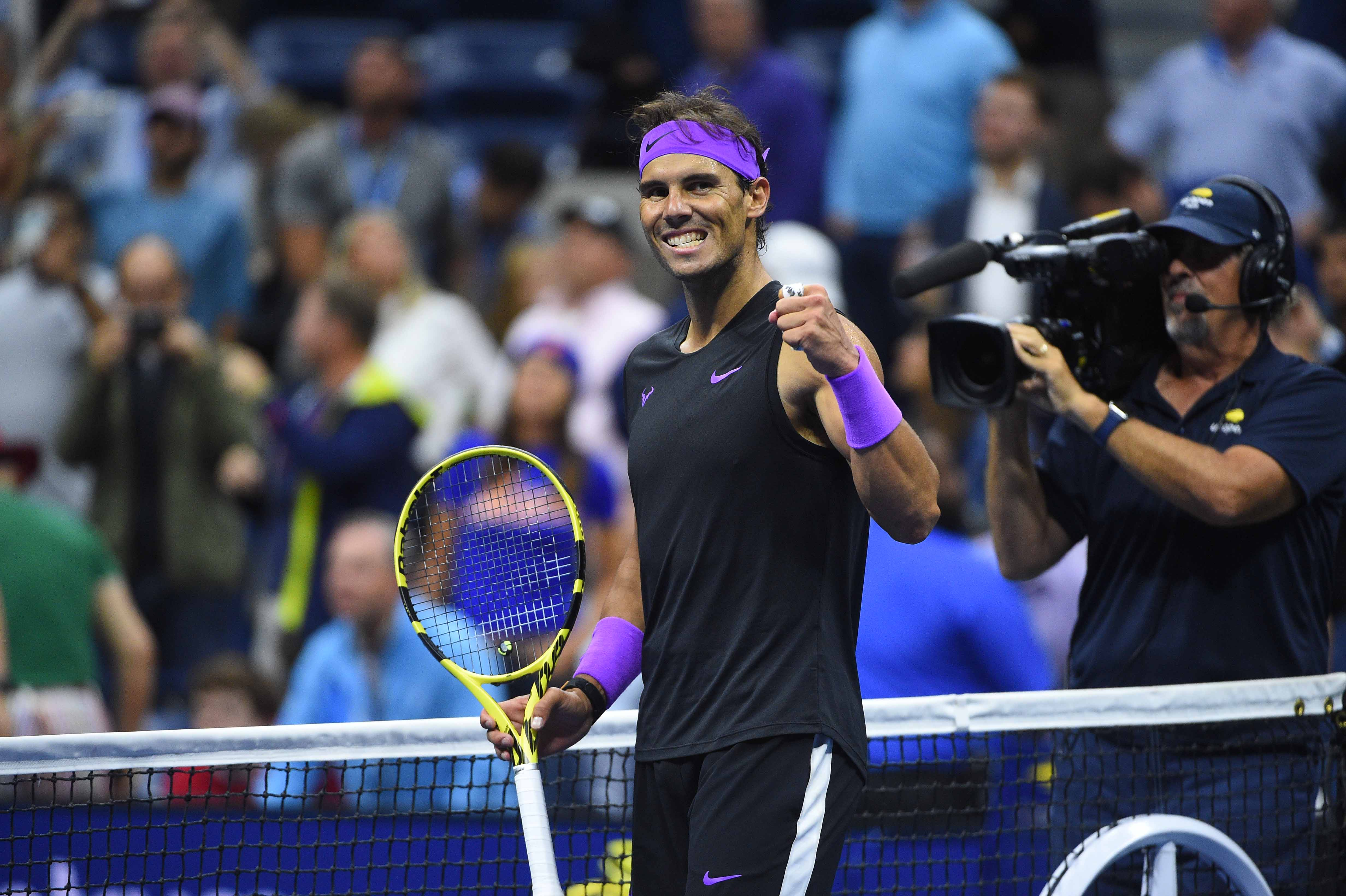 Rafael Nadal smiling as he just qualified for the 2019 US Open final