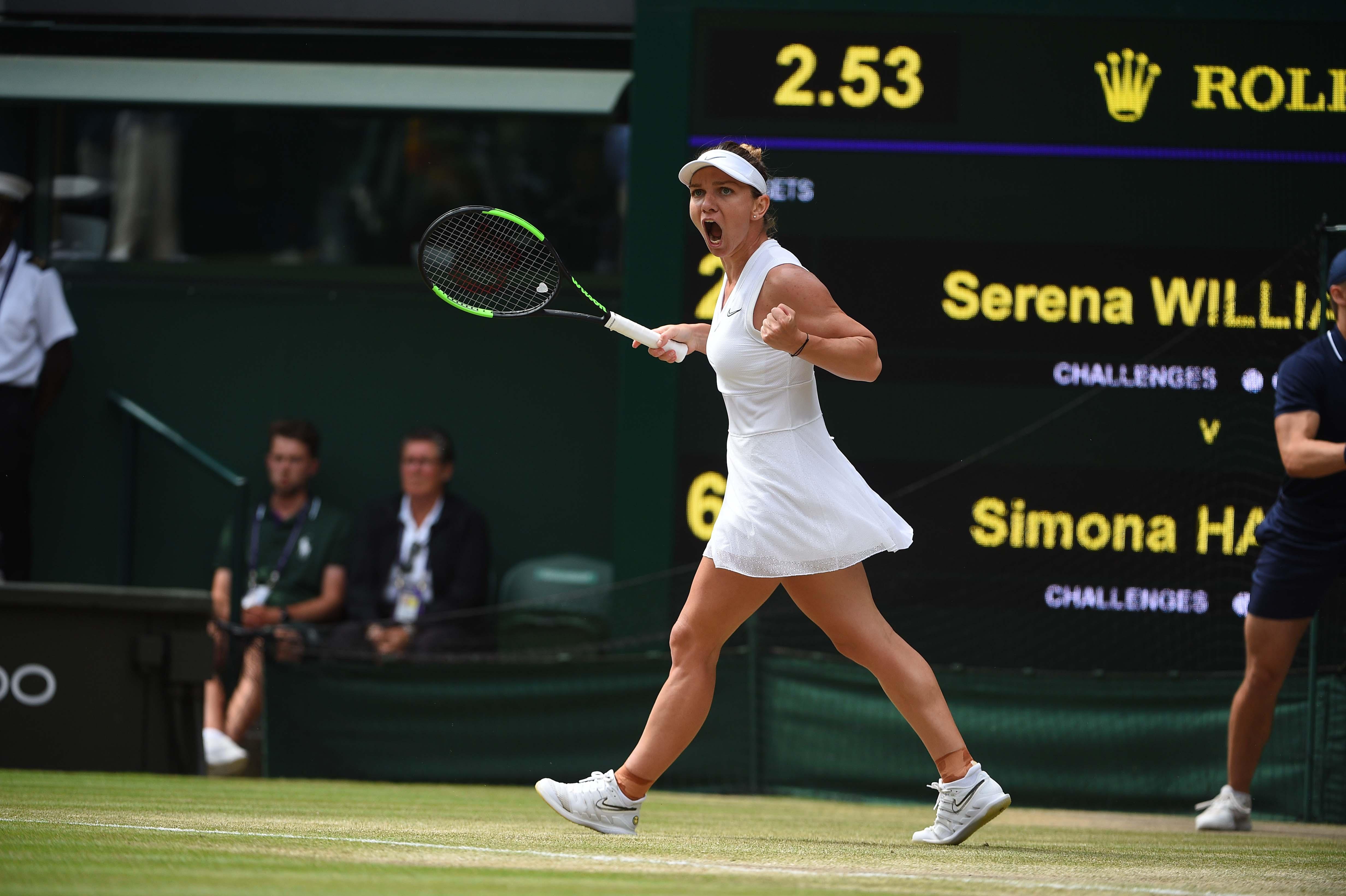 Pumped Simona Halep during her Wimbledon 2019 final