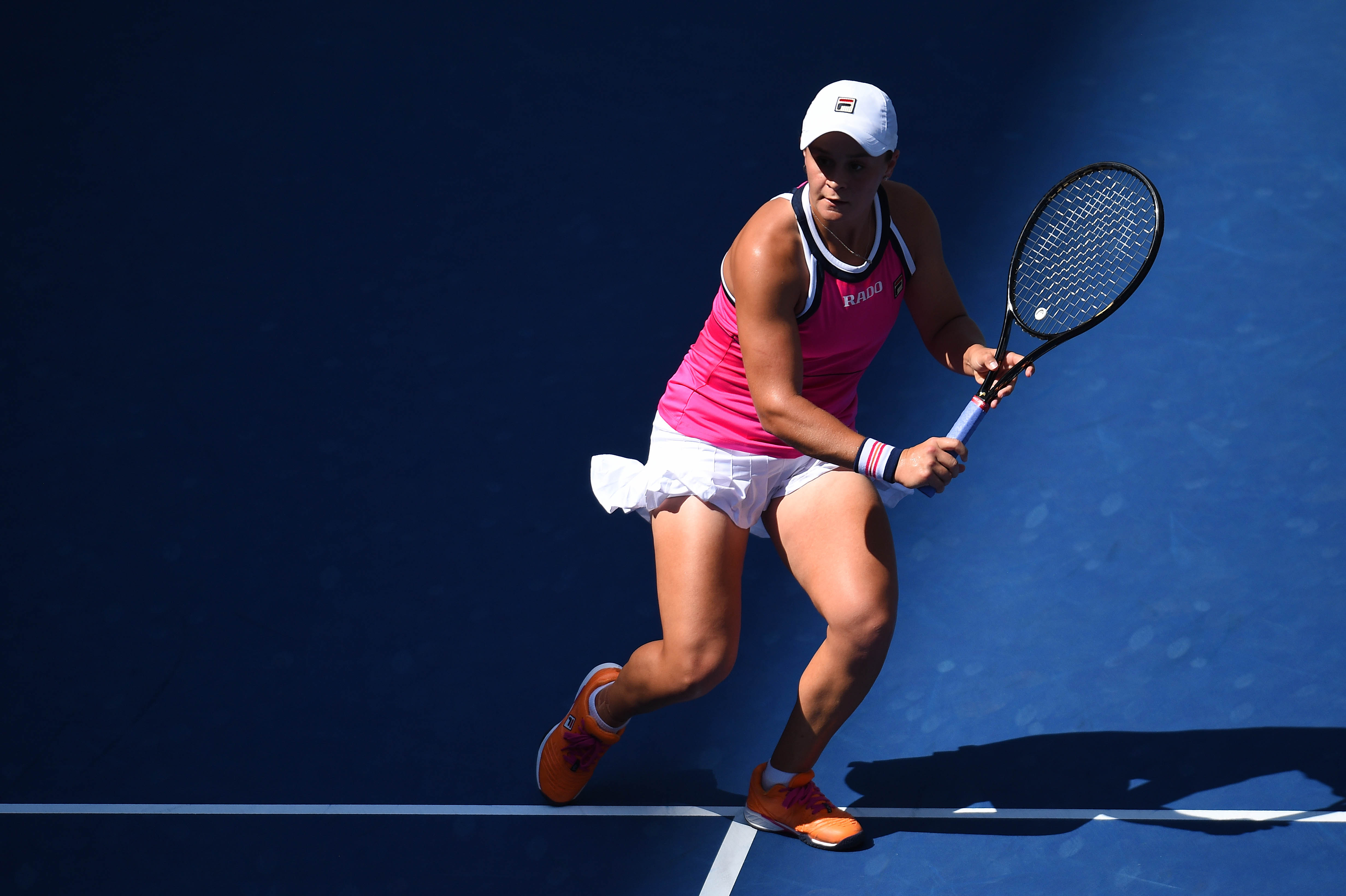 Ashleigh Barty volleying during her third round match at the 2019 US Open