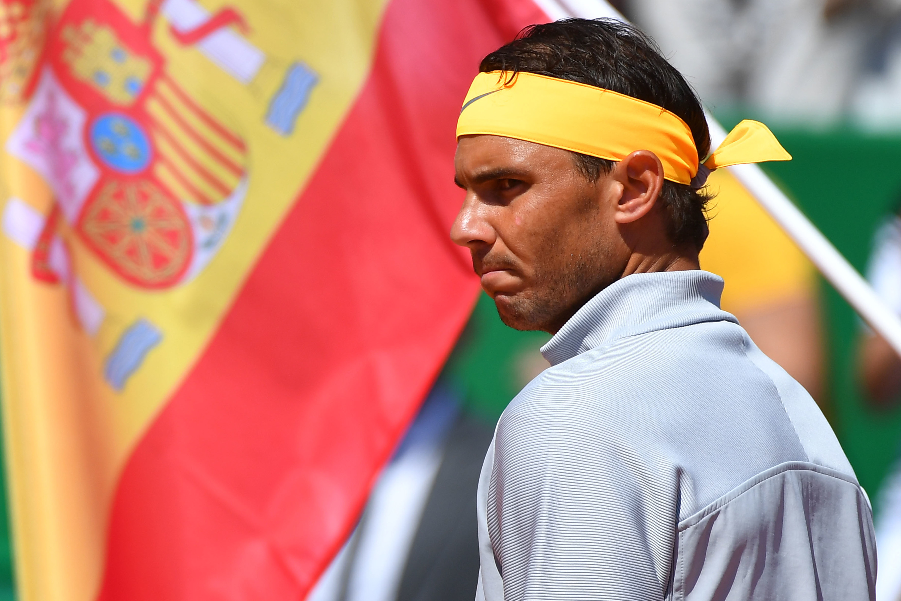 Rafael Nadal in front of the Spanish flag during Monte-Carlo 2018