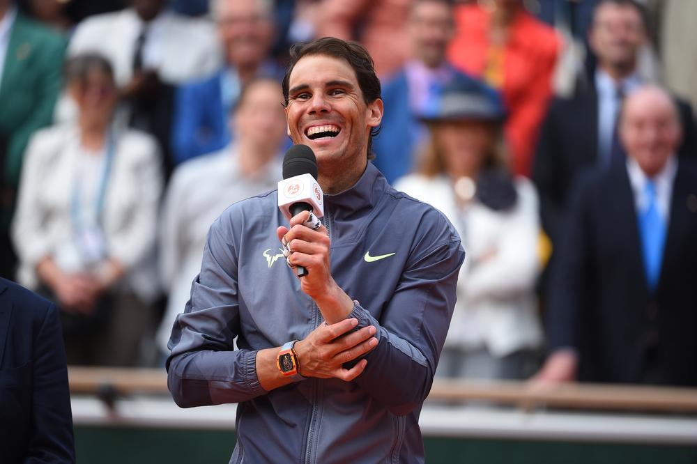 Rafael Nadal laughing during the trophy presentation Roland-Garros 2019