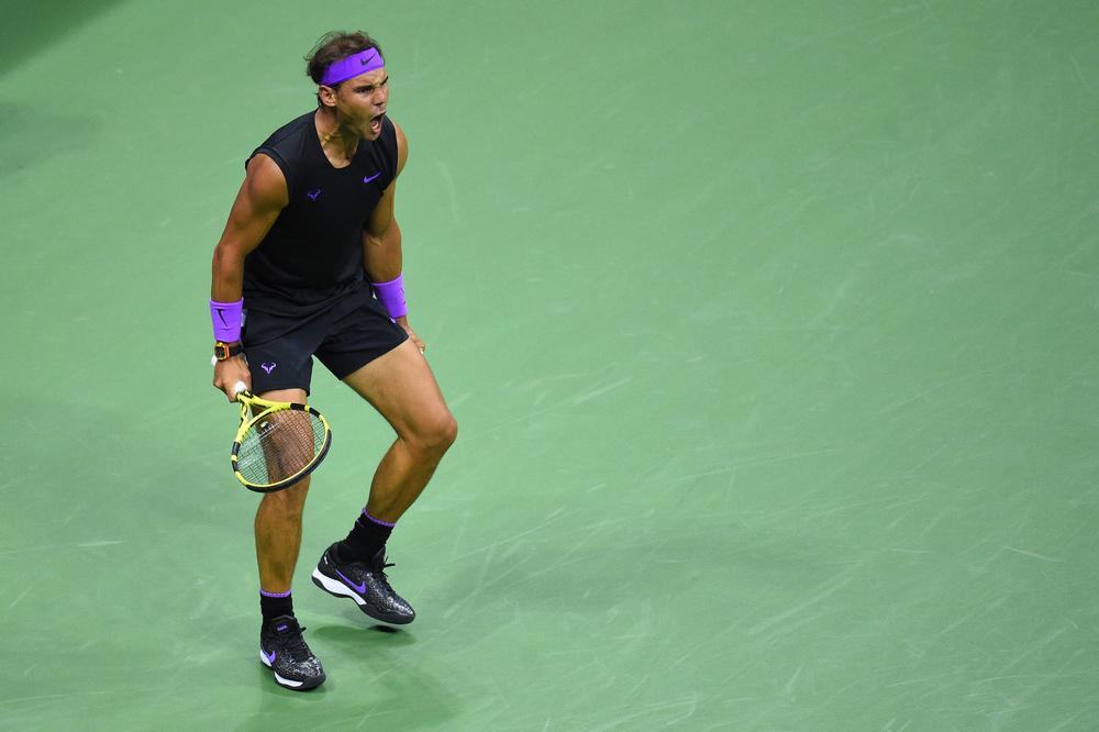 Rafael Nadal screaming at the 2019 US Open