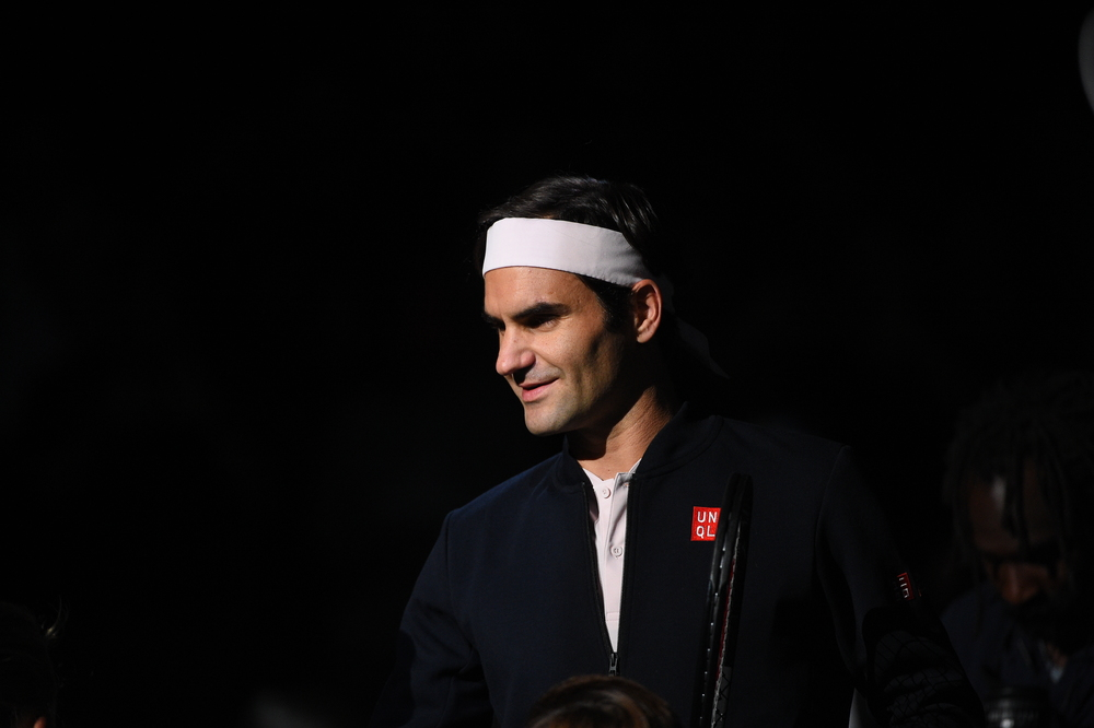 Roger Federer smiling at the 2018 Rolex Paris Masters