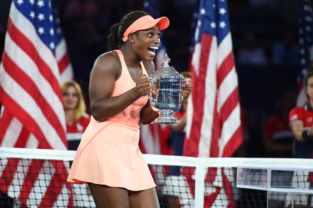 Slone Stephens surprised at the US Open 2017 posing with the trophy.