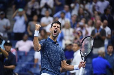 Novak Djokovic jumping of joy after his semifinal win at the US Open 2018