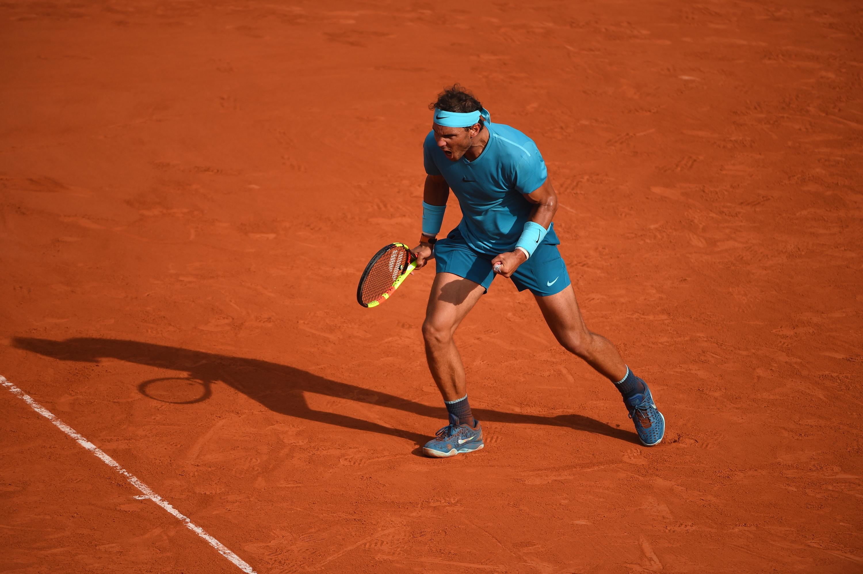 Rafael Nadal shouting a famous vamos! during Roland-Garros 2018