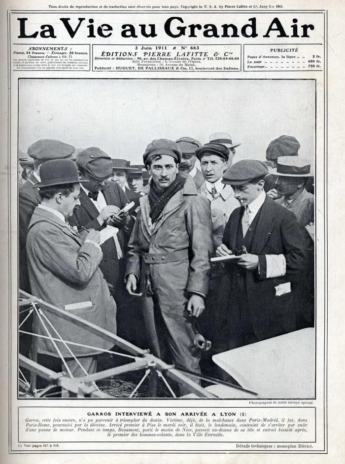 Roland Garros au milieu des journalistes, La vie au grand air, 3 juin 1911.