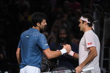 Novak Djokovic er Roger Federer Rolex Paris Masters 2018