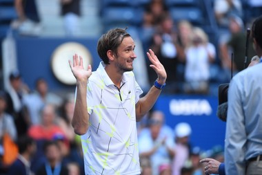 Daniil Medvedev playing with the crowd at the end of his quartefinal match at the 2019 US Open