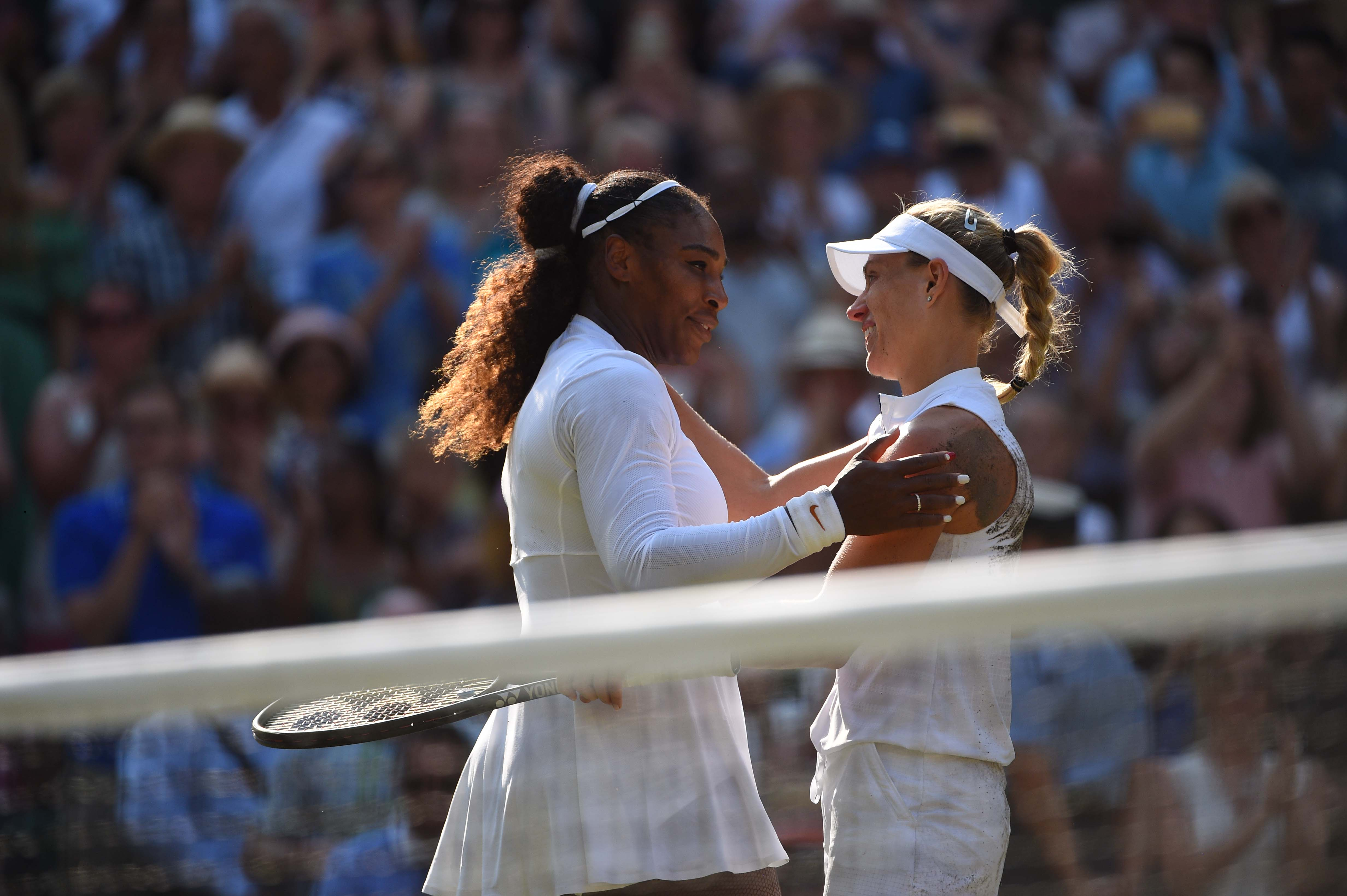 Warm embrace between Serena Williams and Angelique Kerber Wimbledon 2018