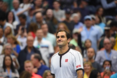 Smiling Roger Federer after a second round match win at the 2019 US Open