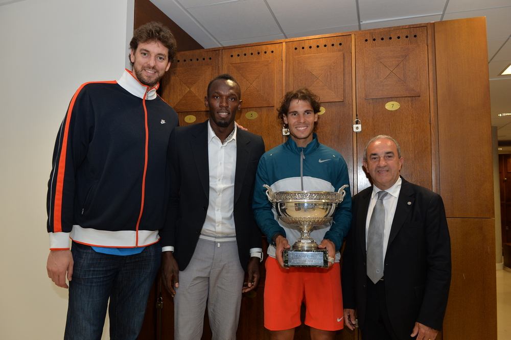 Nadal Bolt Gasol Gachassin Roland Garros trophy locker room 2013