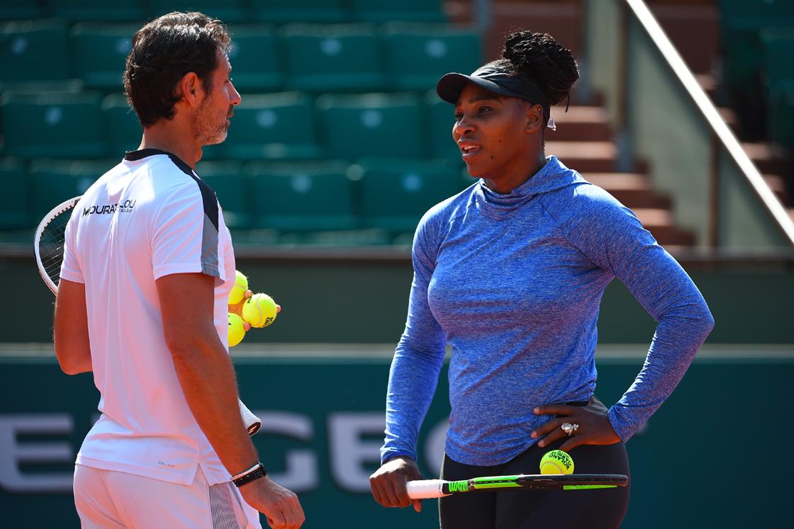 Serena Williams et Patrick Mouratoglou entraînement / practice Roland-Garros 2018