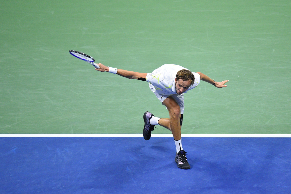 Daniil Medvedev slicing the ball during the 2019 US Open final