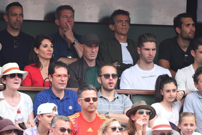 Zinédine Zidane and family at Roland-Garros 2018, MArtin Fourcade, Youri Djorkaeff