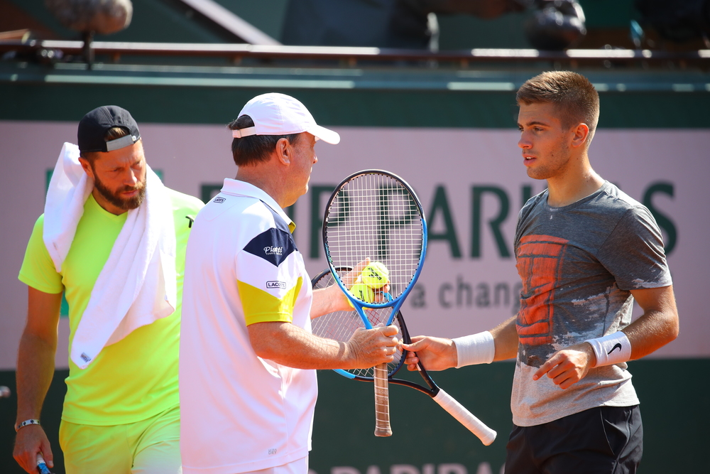 Borna Coric and Riccardo Piatti at Roland-Garros 2018