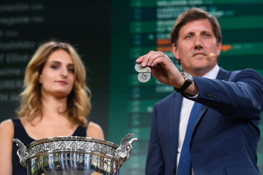 Rémy Azémar et Gabriella Papadakis au tirage au sort de Roland-Garros 2018 draw ceremony Roland-Garros 2018.