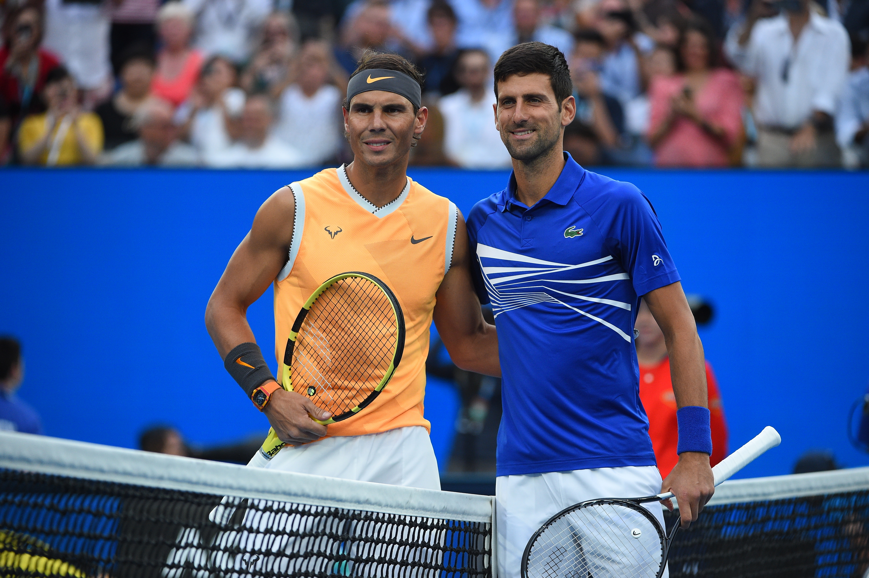 Rafael Nadal and Novak Djokovic posing before the 2019 Australian Open final