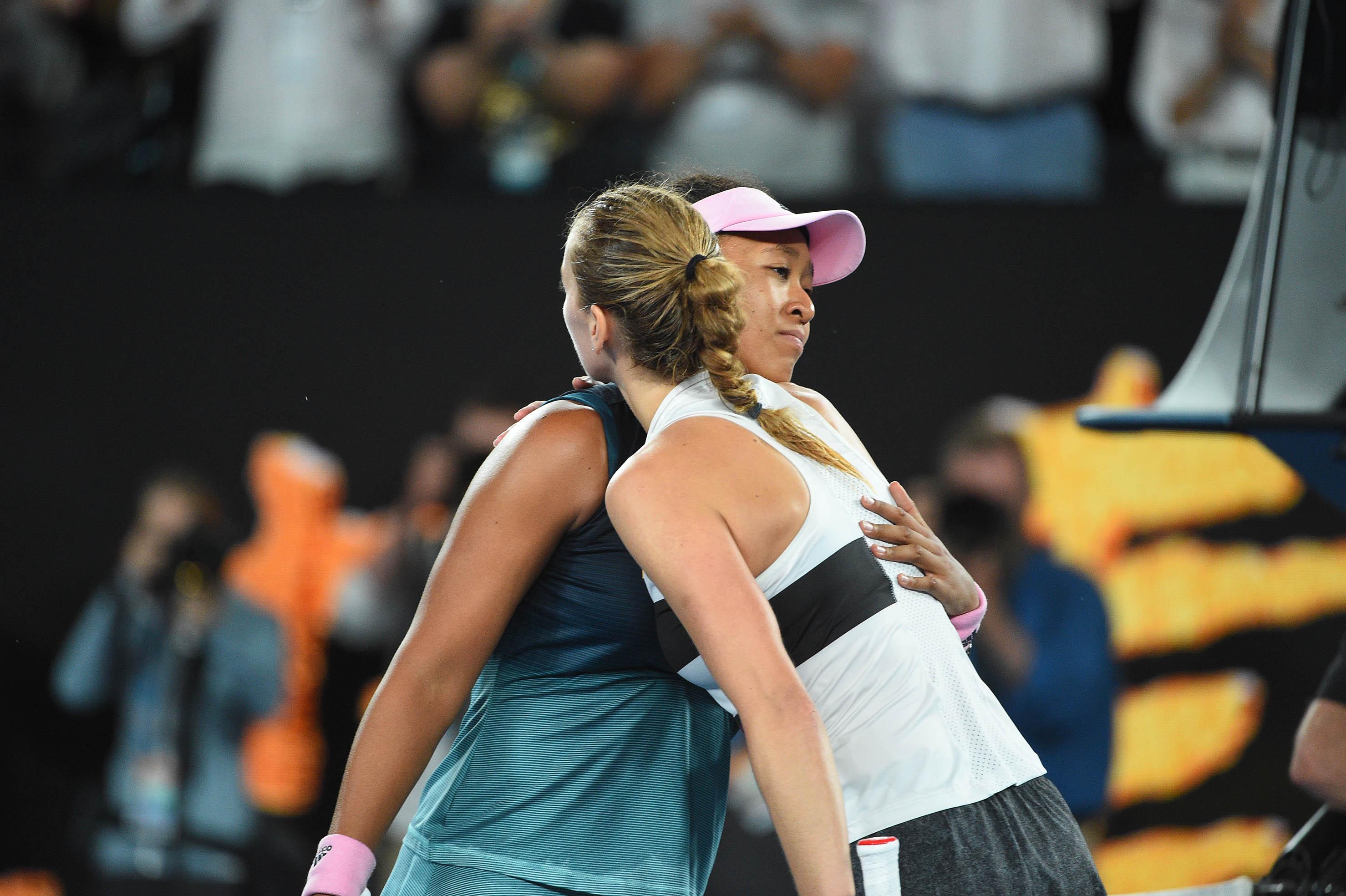 Nice hug at the net between Naomi OSaka and Petra Kvitova at the 2019 Australian Open