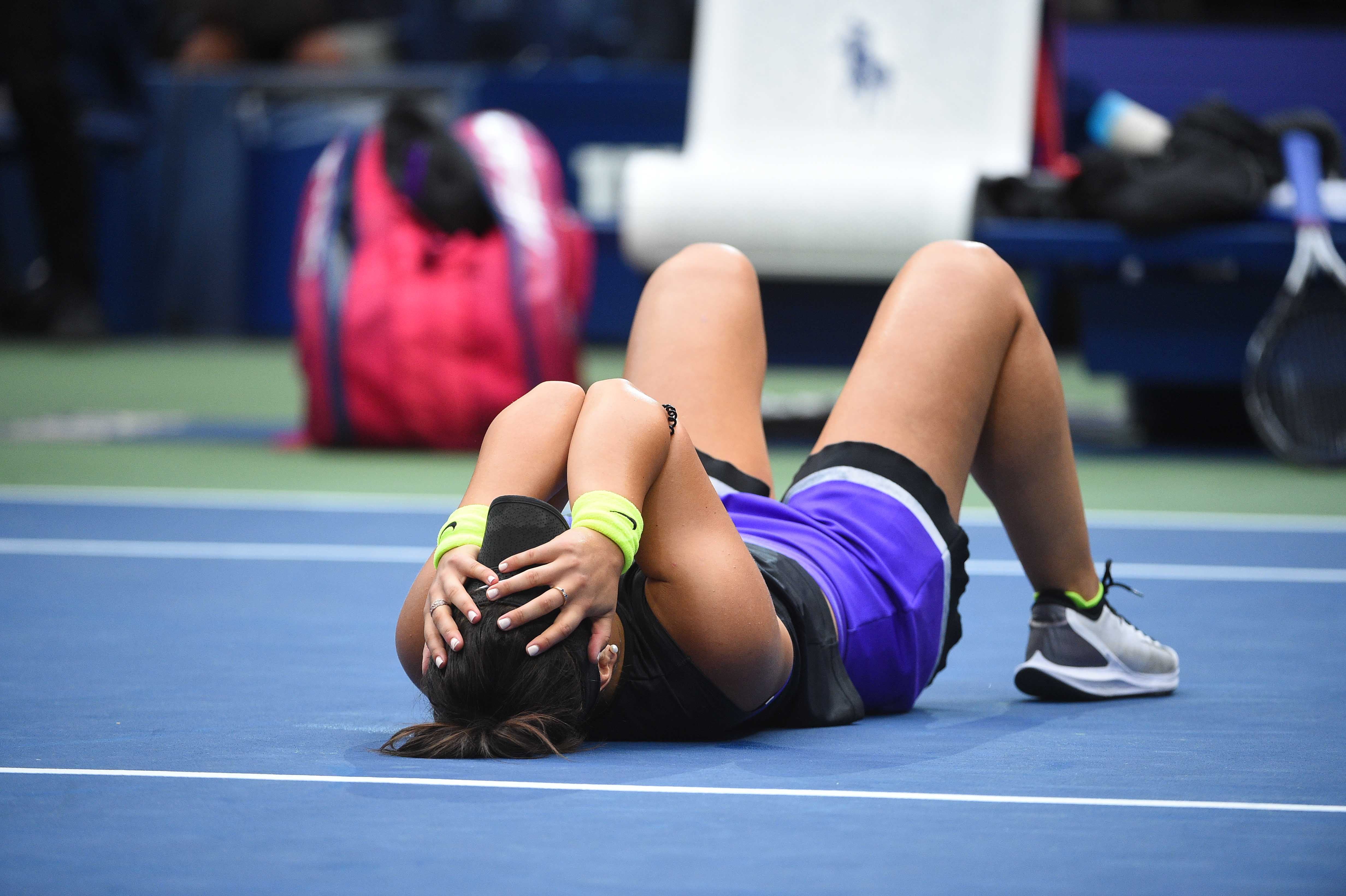 Bianca Andreescu on the ground as she won the 2019 US Open
