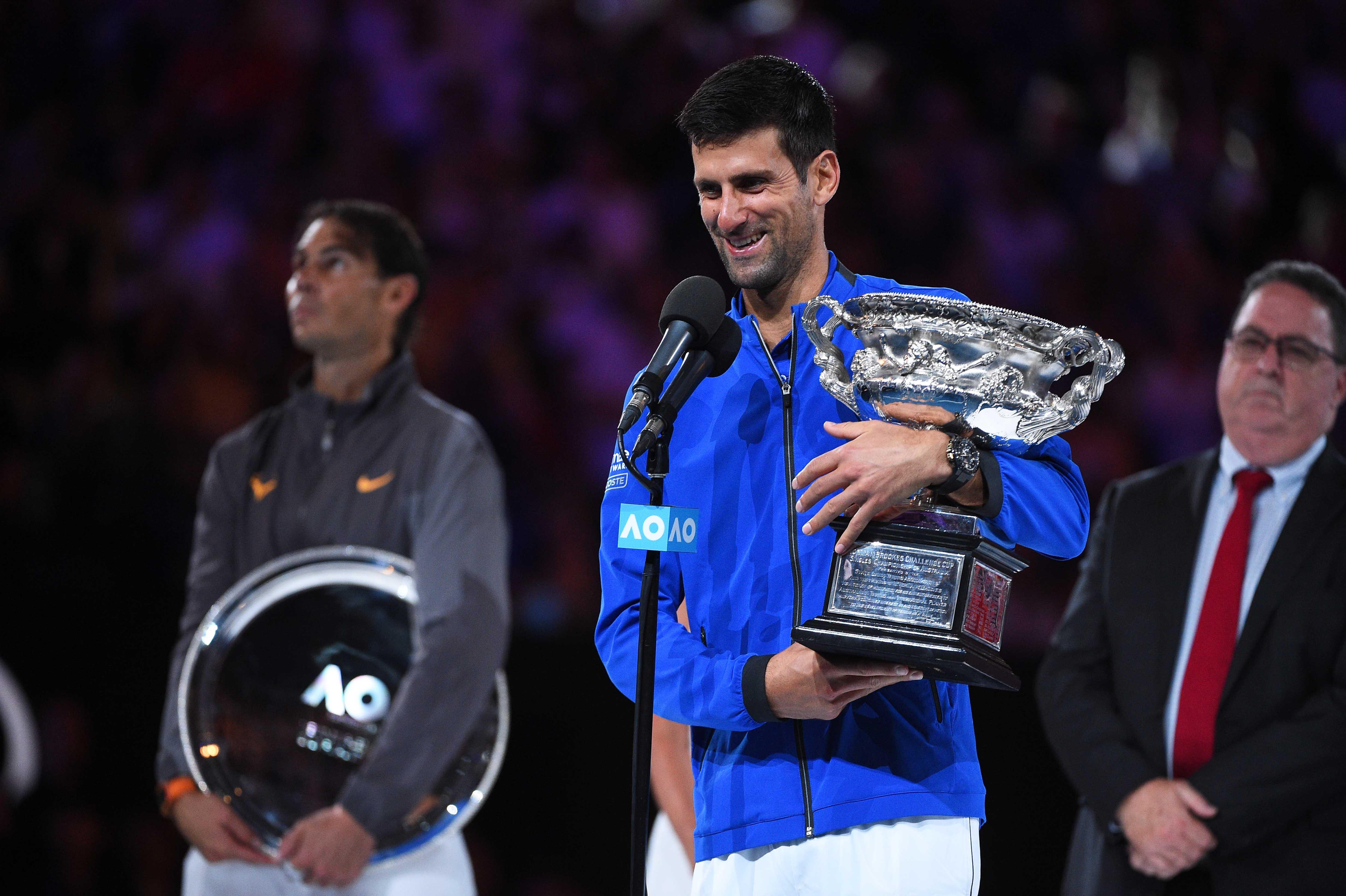 Novak Djokovic talknin g during his speech at the 2019 Australian Open