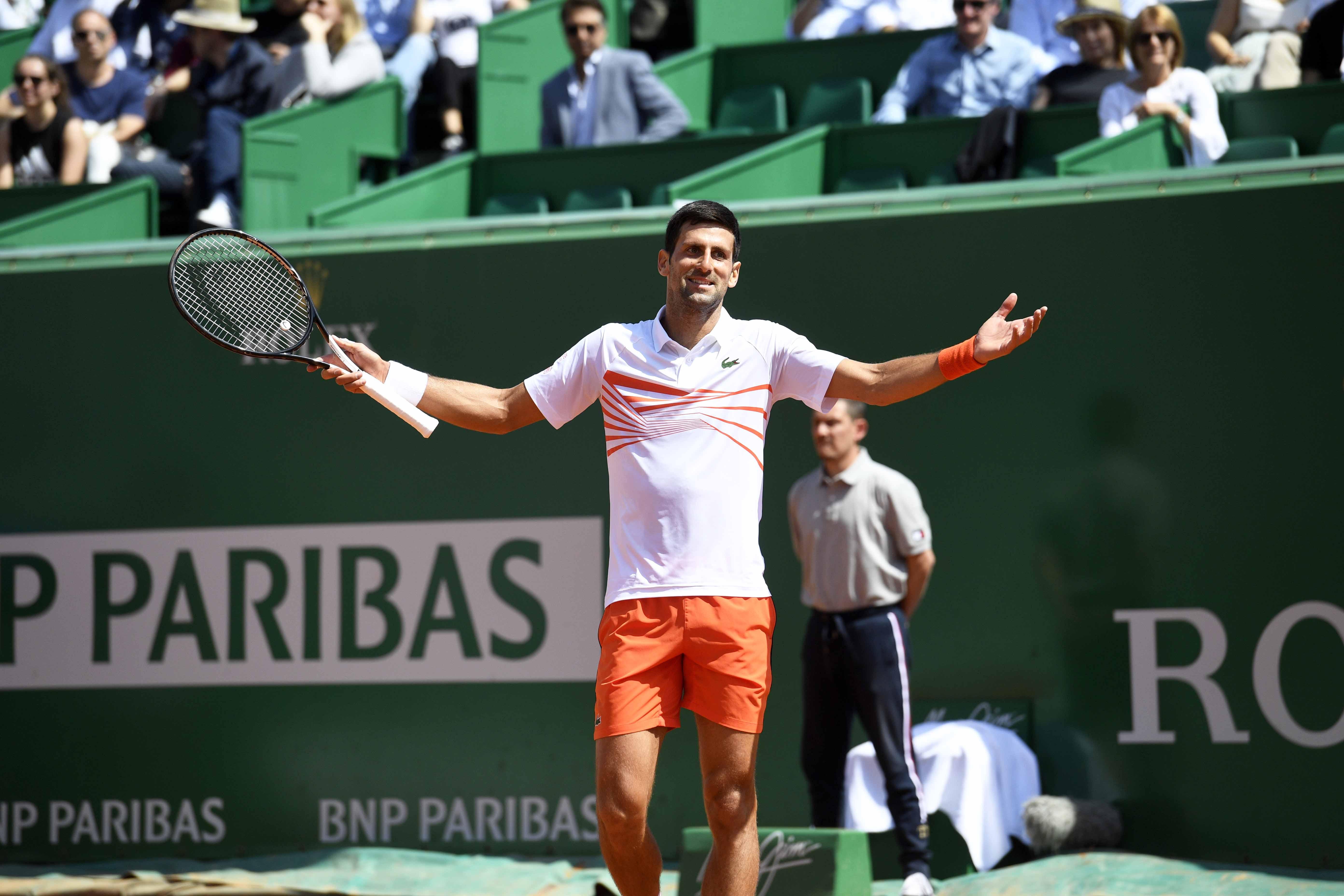 Novak Djokovic getting a bit upset during Monte-Carlo 2019