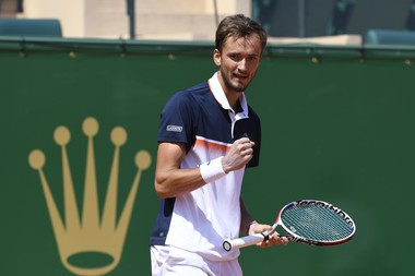 Daniil Medvedev's joy after his win over Novak Djokovic in Monte-Carlo 2019