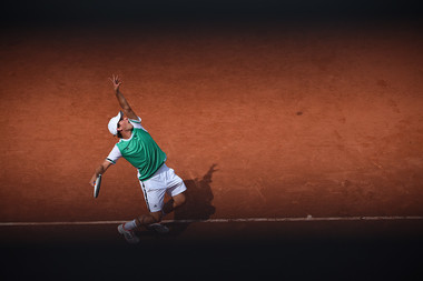 Dominic Thiem in action at Roland-Garros 2017, where he reached the semi-final.