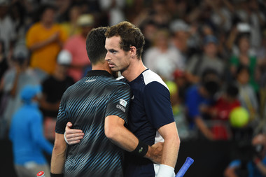 Roberto Bautista-Agut and Andy Murray at the net Australian Open 2019