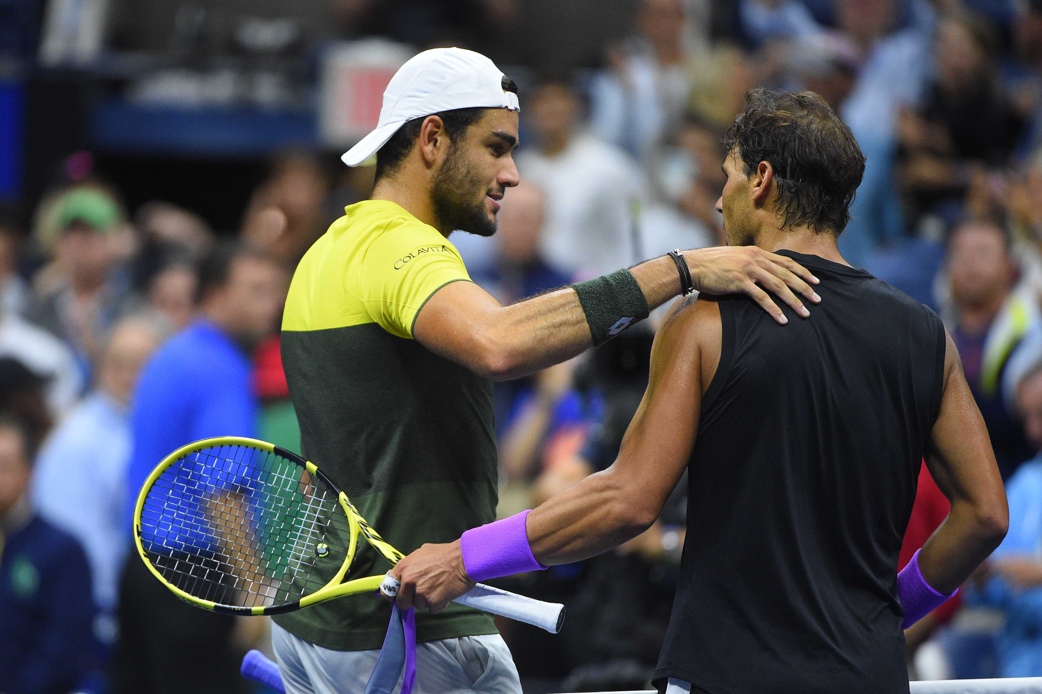 Matteo Berrettini and Rafael Nadal at the net at the 2019 US Open