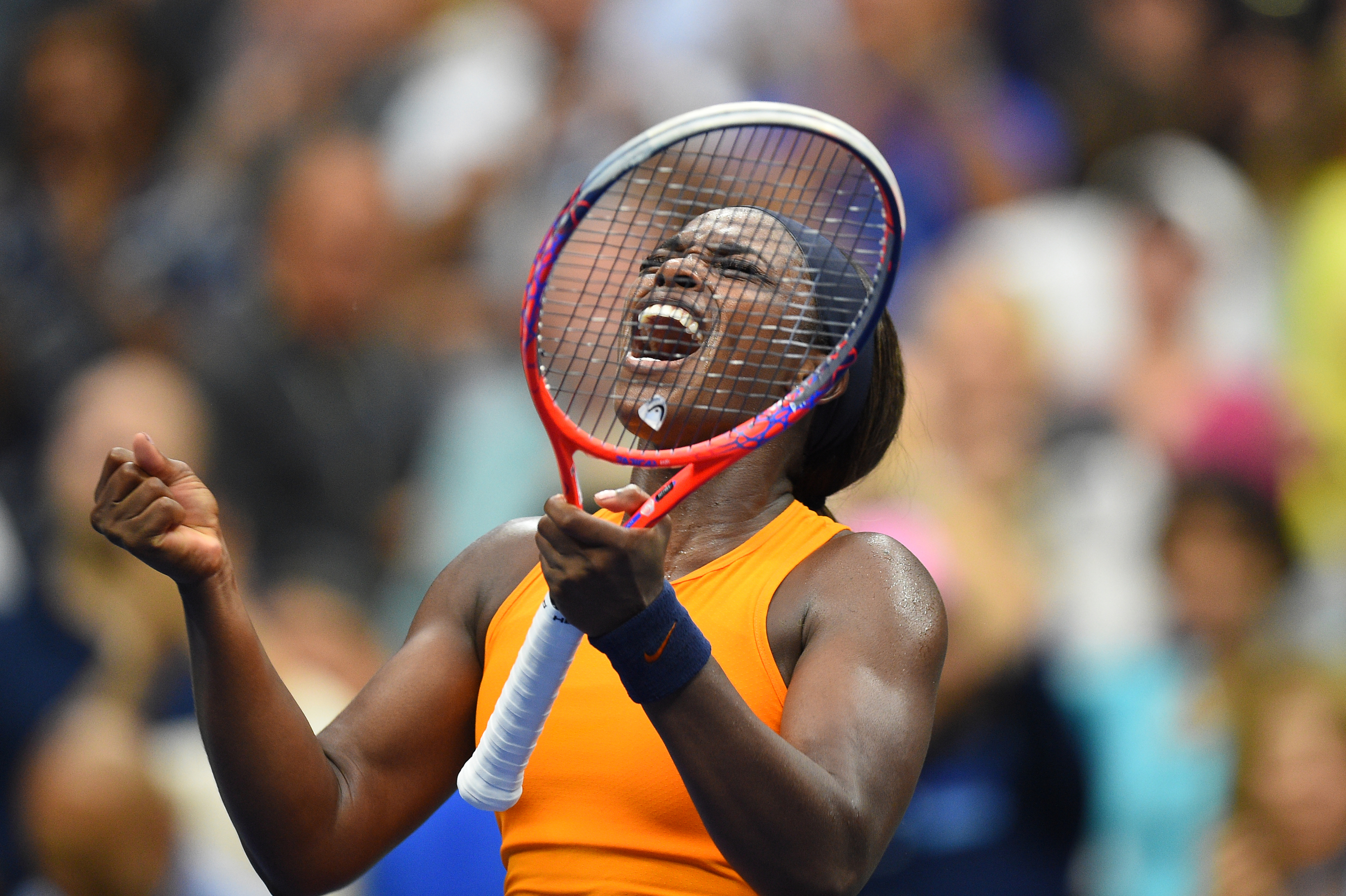 Sloane Stephens shouting during the 2018 US Open