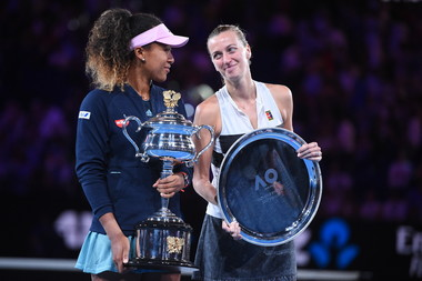 Naomi Osaka and Petra Kvitova laughing during the trophy presentation at the 2019 Australian Open