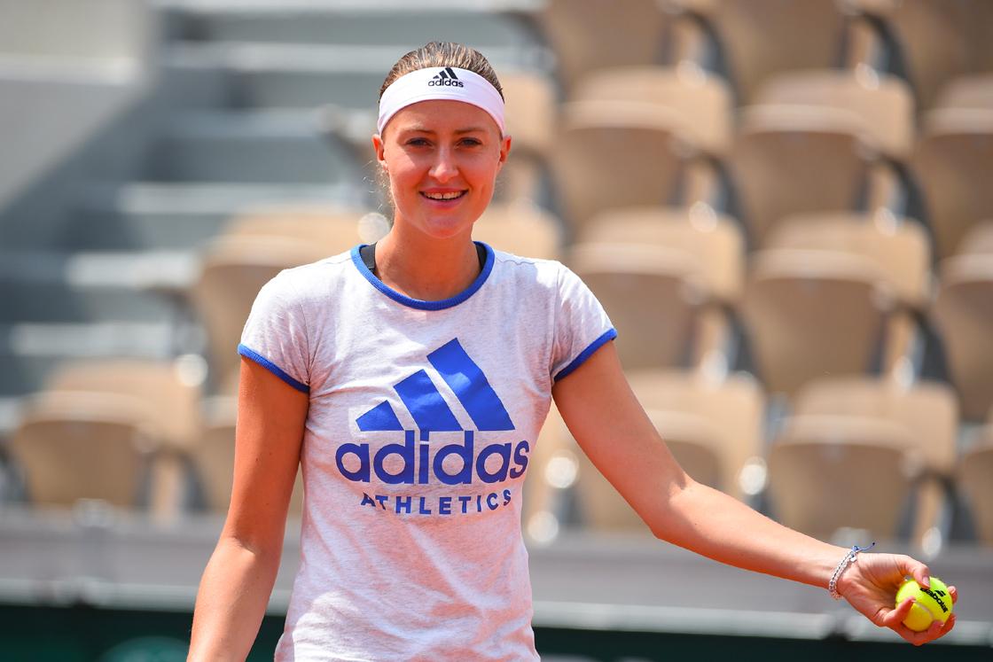 Kristina Mladenovic entraînement / practice Roland-Garros 2018