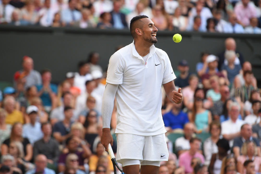 Nick Kyrgios laughing at Wimbledon 2019