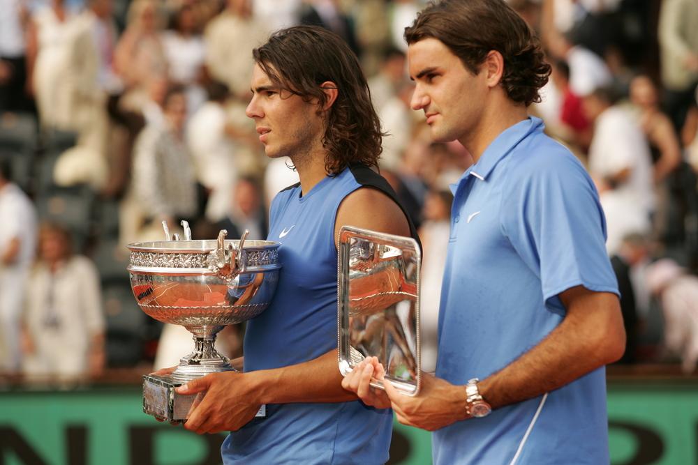 Roger Federer Rafael Nadal Roland Garros 2006 trophy