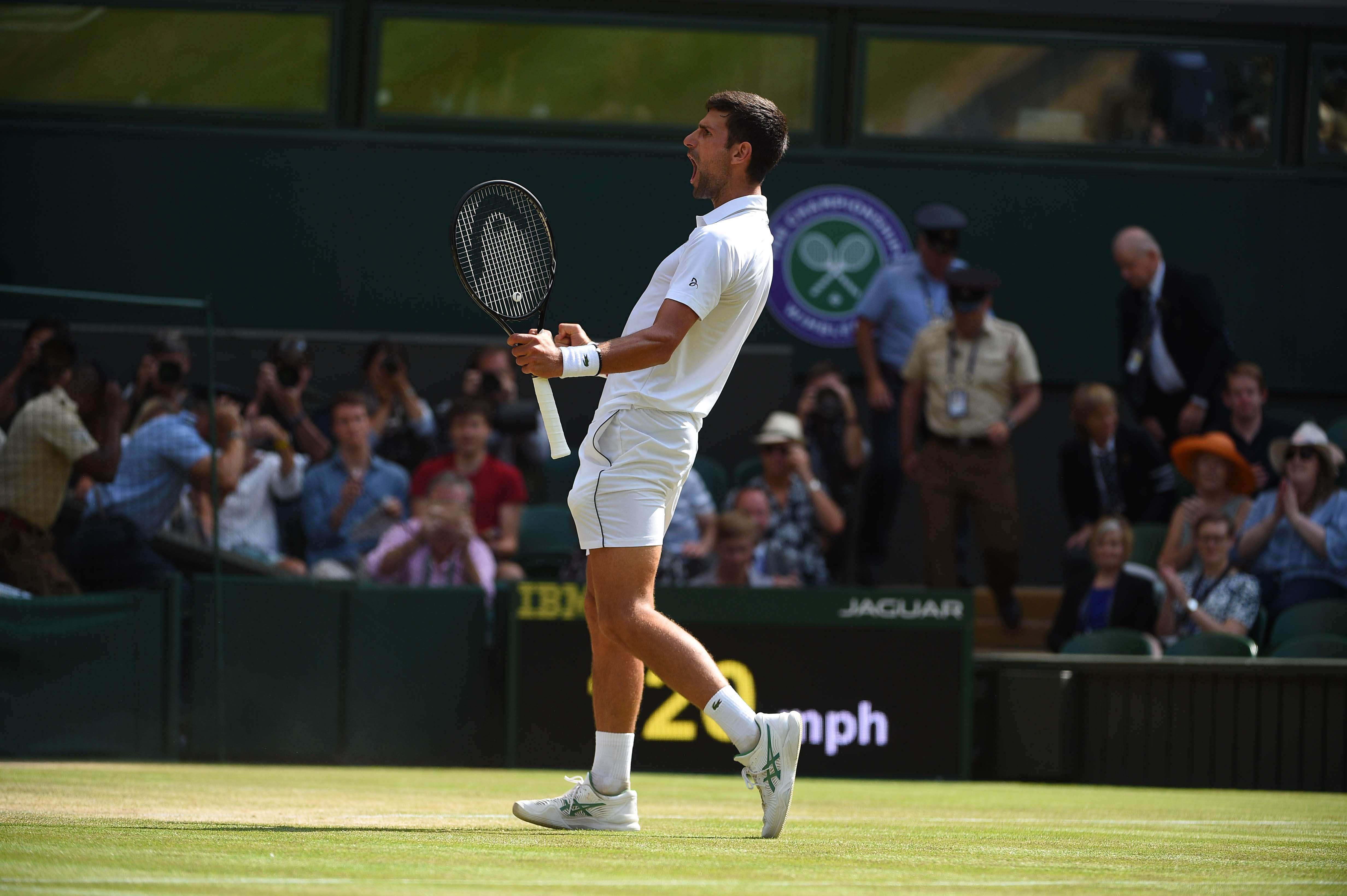 Novak Djokovic during his semi final at Wimbledon 2019