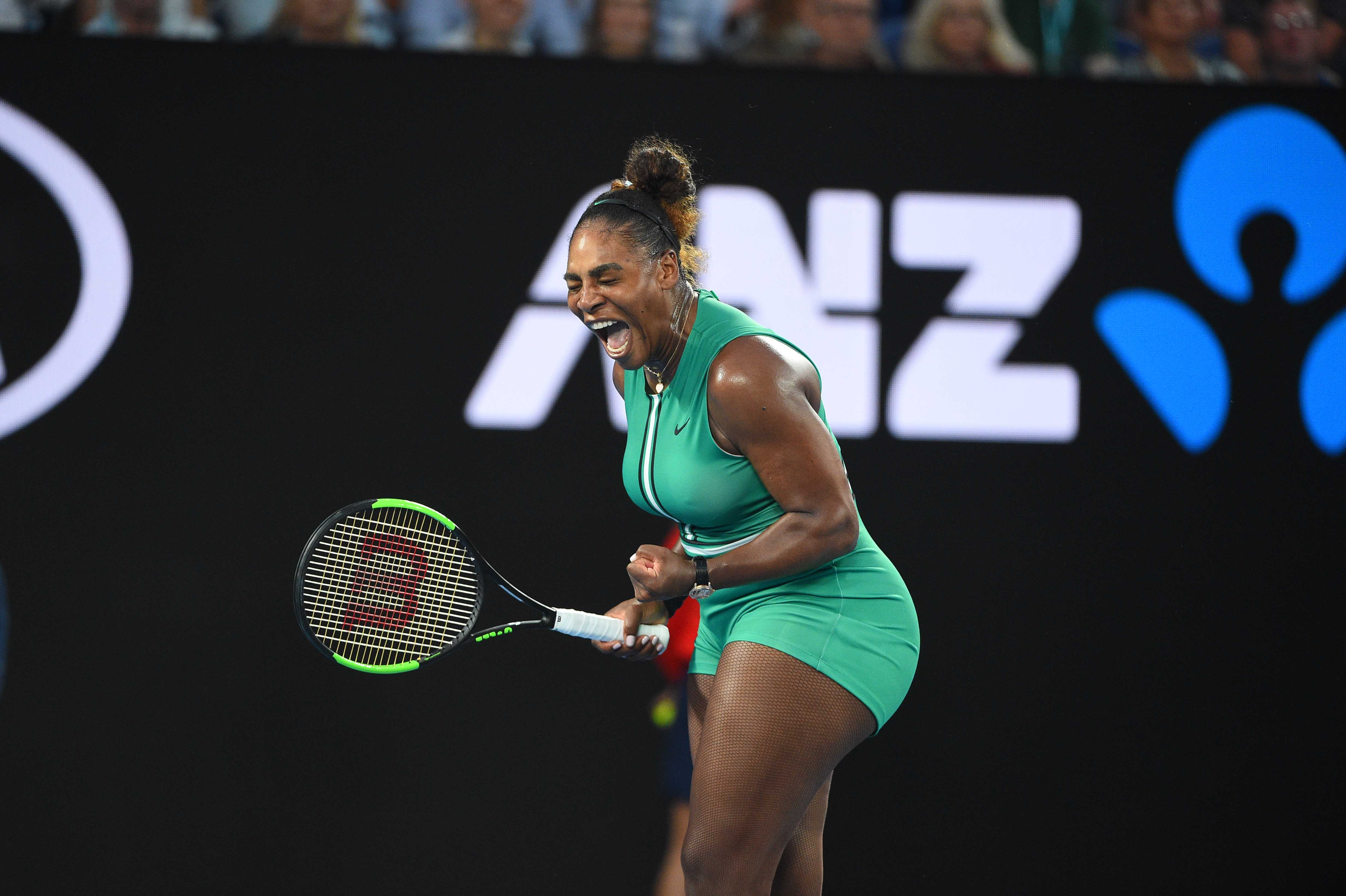 Serena Williams shouting during her match against Simona Halep at the Australian Open 2019