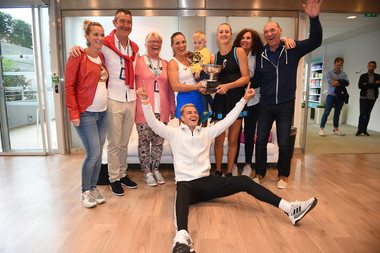 Kristina Mladenovic, Timea Babos and entourage
