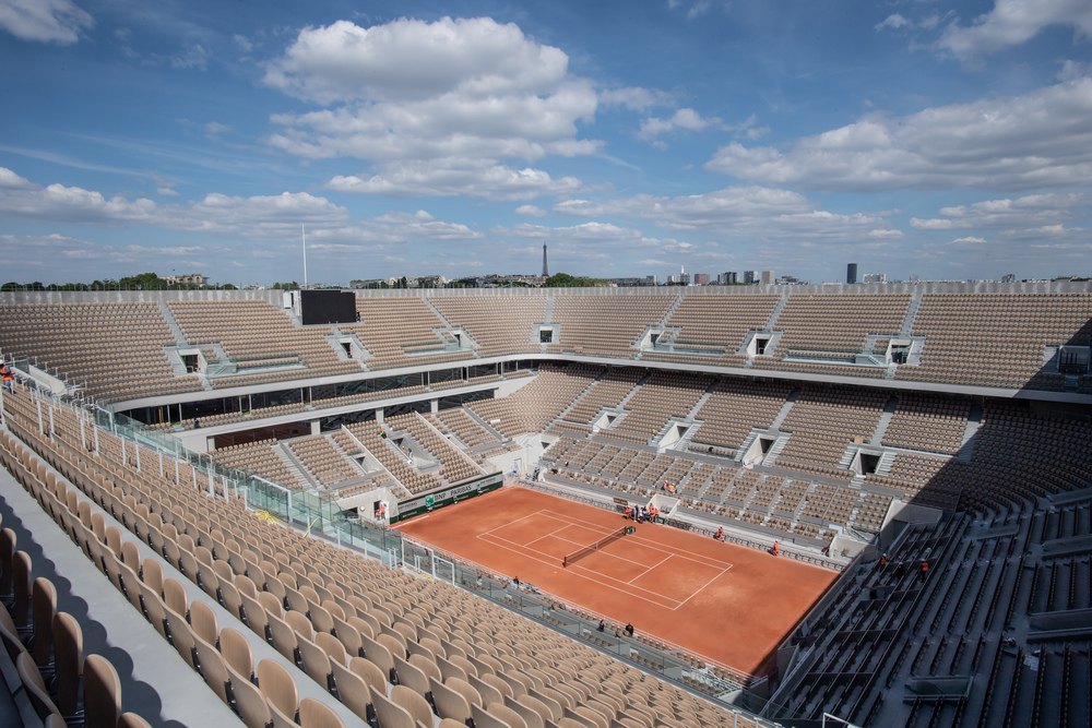 The new Philippe-Cahtrier court before the tournament Roland-Garros 2019