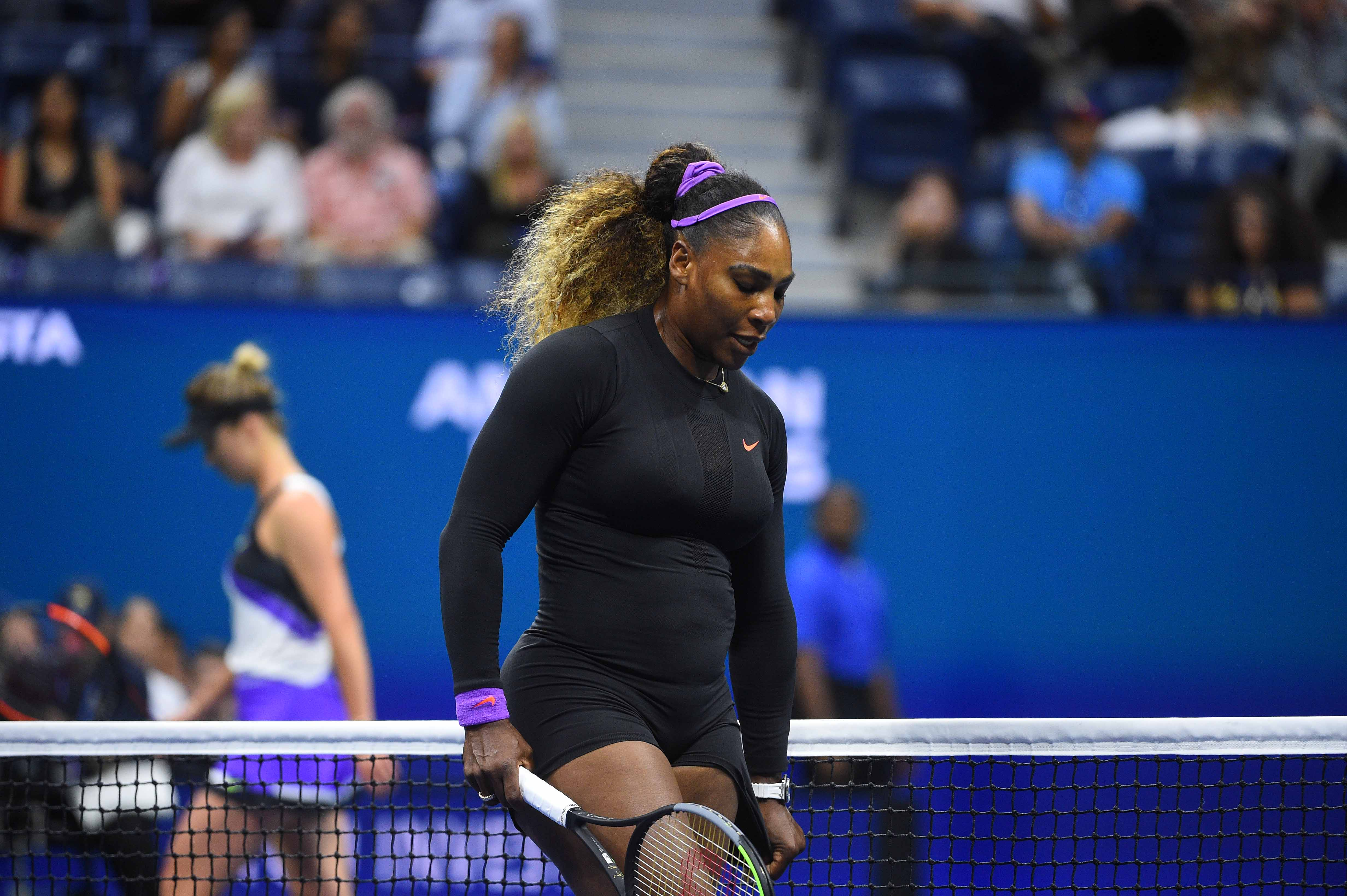 Serena Williams and Elina Svitolina during their semifinal at the 2019 US Open