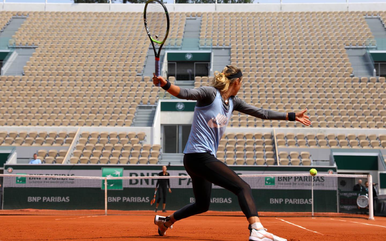 Victoria Azarenka Kristina Mladenovic Roland-Garros 2018 entraînement training