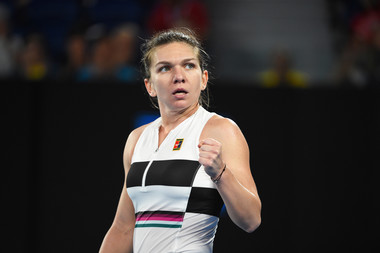 Simona Halep fist pumping at the Australian Open 2019