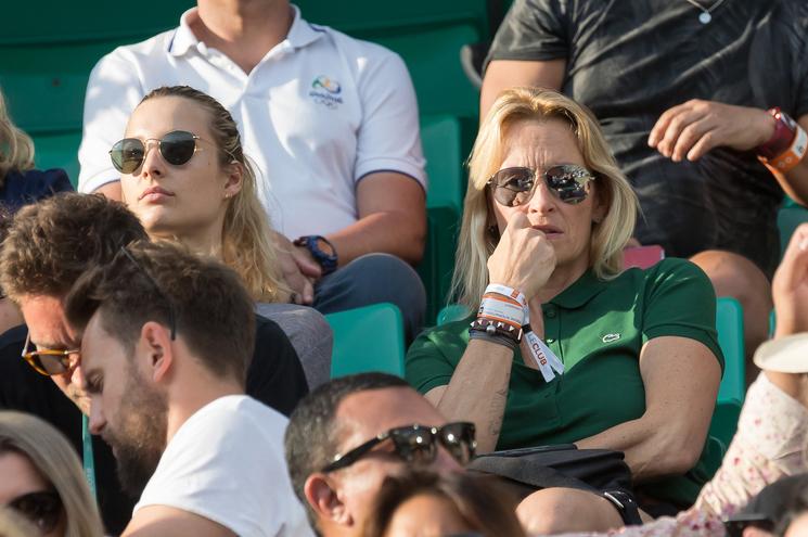 L'ex top model Estelle Lefébure et sa fille mannequin Ilona Smet à Roland-Garros 2018