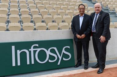 Bernard Giudicelli,  Président de la FFT, et Pravin Rao, Directeur général Opérations d'Infosys à Roland-Garros.