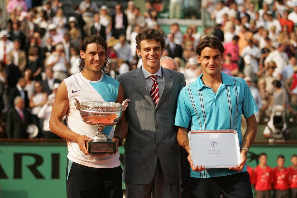 Nadal Kuerten Federer Roland Garros 2007 trophy