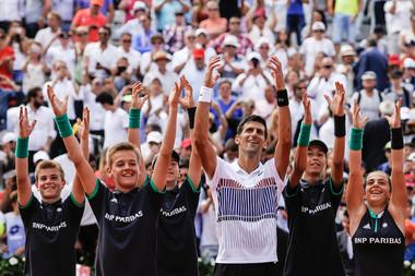 Roland-Garros 2017, Novak Djokovic, ramasseurs de balles, ball boys