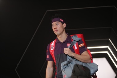 Kei Nishikori at the 2018 Rolex Paris Masters